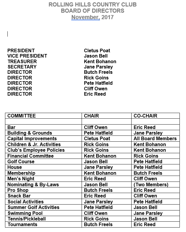 BOD 2017 Committees