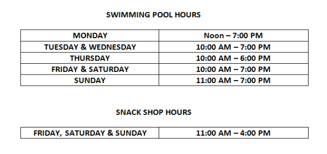 Pool Hours 2017