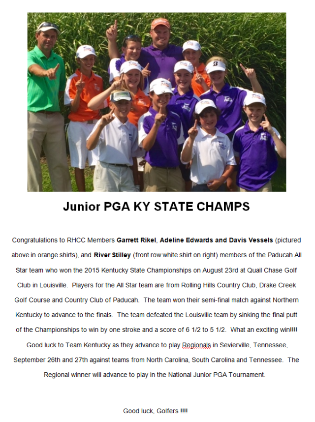 Jr PGA Ky State Champs
