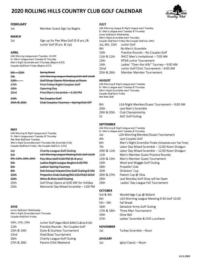 2020 Golf Calendar 6.2020