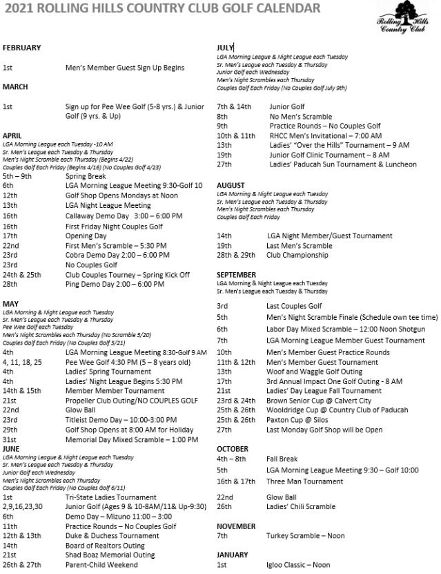 Golf Calendar 2021 4.21